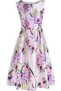 White Sleeveless Lily Print A Line Dress