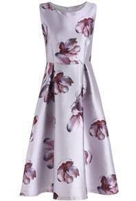 Grey Round Neck Sleeveless Floral Flare Dress