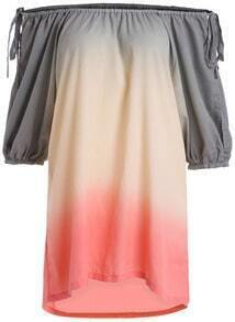 Grey Ombre Boat Neck Loose Dress