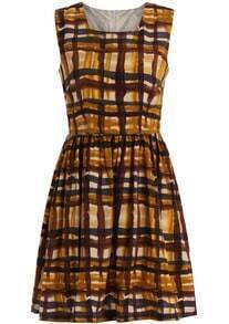 Yellow Round Neck Sleeveless Plaid Dress
