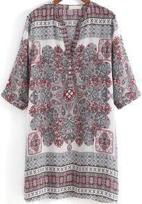 Grey V Neck Tribal Print Straight Dress