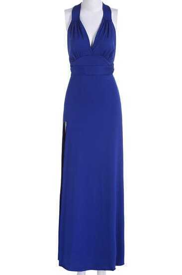 Blue Halter Cross Back Backless Maxi Dress pictures