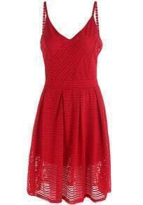 Red Spaghetti Strap Striped Pleated Dress