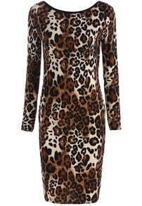 Leopard Long Sleeve Backless Bodycon Dress