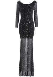 Black Long Sleeve Sequined Sheer Mesh Dress