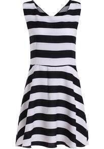 Black White Sleeveless Striped Flare Dress