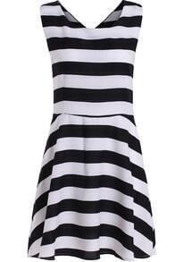Black White Sleeveless Striped Flare Dress