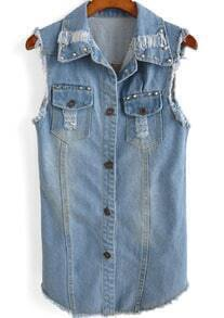 Blue Lapel Sleeveless Rivet Denim Vest