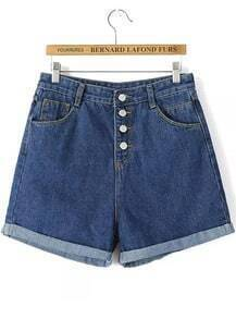 Navy Buttons Flange Denim Shorts