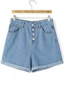 Blue Buttons Flange Denim Shorts
