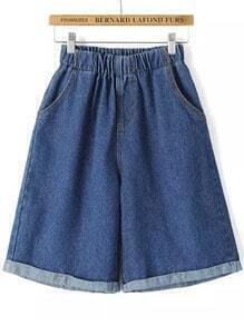 Blue Elastic Waist Loose Denim Shorts
