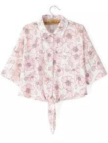Pink Lapel Floral Knotted Crop Blouse