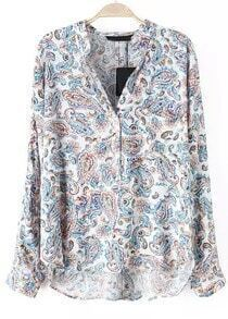 Blue Stand Collar Cashew Print Blouse