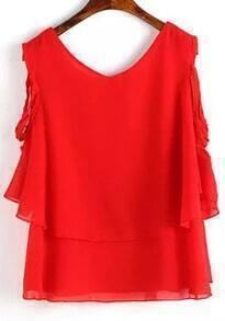 Red Round Neck Ruffle Chiffon Blouse