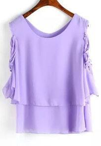Purple Round Neck Ruffle Chiffon Blouse