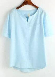 Blue V Neck Pocket Dip Hem Blouse