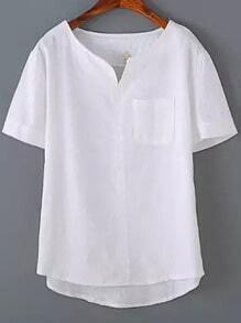 White V Neck Pocket Dip Hem Blouse