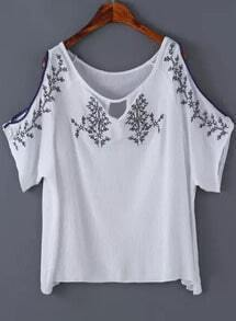 White Off the Shoulder Embroidered Blouse