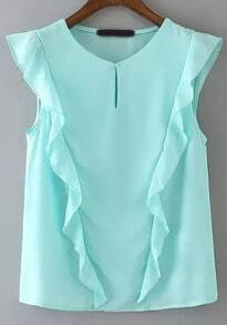 Blue Round Neck Sleeveless Ruffle Blouse