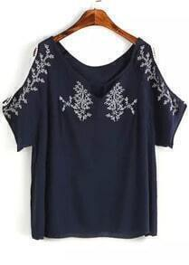 Navy Off the Shoulder Embroidered Blouse