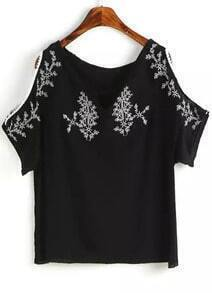 Black Off the Shoulder Embroidered Blouse