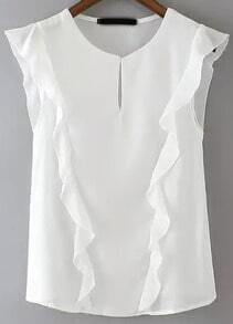 White Round Neck Sleeveless Ruffle Blouse