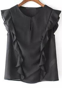 Black Round Neck Sleeveless Ruffle Blouse
