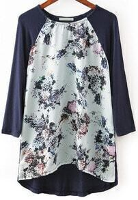 Navy Long Sleeve Floral Loose T-Shirt