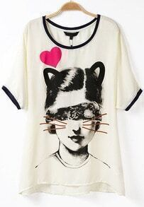 Apricot Short Sleeve Cat Girl Print T-Shirt