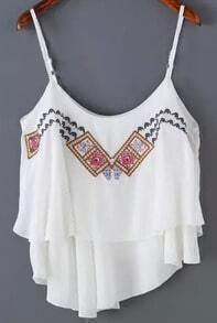 White Spaghetti Strap Embroidered Cami Top