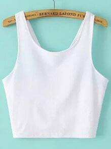 White Spaghetti Strap Backless Crop Cami Top