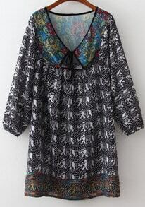 Black V Neck Elephant Print Loose Dress