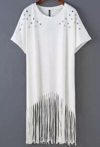 White Round Neck Hollow Tassel Dress