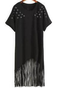 Black Round Neck Hollow Tassel Dress