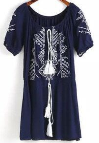 Navy Short Sleeve Embroidered Loose Dress