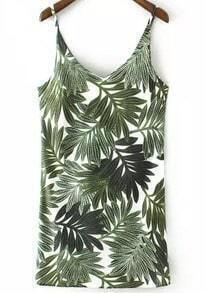 Green Spaghetti Strap Leaves Print Dress