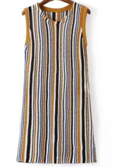 Knitting Vertical Stripes In The Round : Multicolor round neck vertical stripe knit dress shein