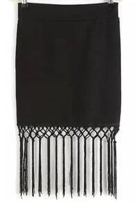 Black Tassel Bodycon Skirt