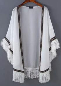White Peplum Trims Tassel Kimono