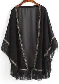 Black Peplum Trims Tassel Kimono