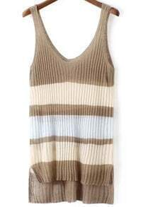 Khaki Strap Striped Dip Hem Knit Tank Top