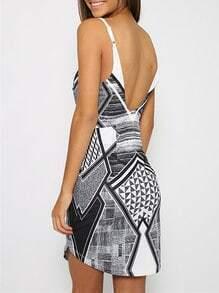 Grey Spaghetti Strap Deep V Neck Backless Geometric Print Dress