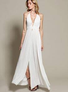 White Halter Deep V Neck Backless Maxi Dress
