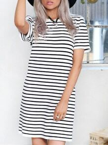 White Short Sleeve Striped T-Shirt Dress