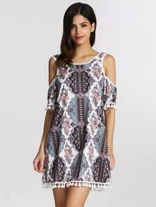 Multicolor Off The Shoulder Vintage Print Tassel Dress