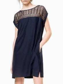 Navy Short Sleeve Hollow Pockets Dress