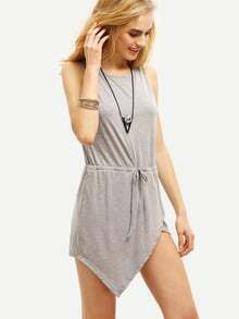 Grey Sleeveless Asymmetric Bodycon Dress