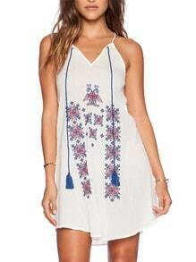 White Spaghetti Strap Tribal Embroidery Dress