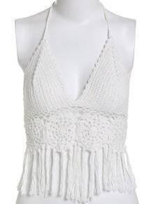 White Halter Tassel Bikini Top