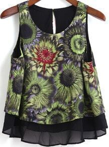 Black Round Neck Sunflowers Print Chiffon Tank Top